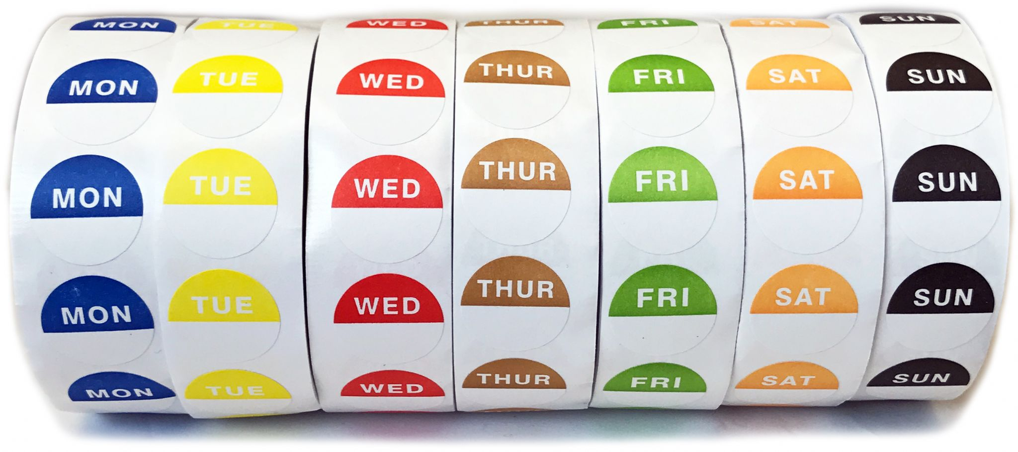 Set Of 7 Rolls Day Dot Food Stickers Catering Labels